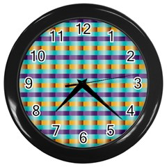 Pattern Grid Squares Texture Wall Clocks (black) by Nexatart