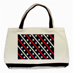 Patriotic Red White Blue Stars Basic Tote Bag (two Sides)
