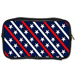Patriotic Red White Blue Stars Toiletries Bags 2 Side by Nexatart