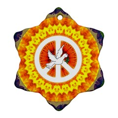 Peace Art Artwork Love Dove Snowflake Ornament (two Sides) by Nexatart