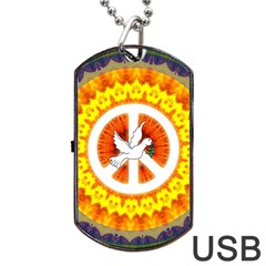 Peace Art Artwork Love Dove Dog Tag Usb Flash (two Sides) by Nexatart