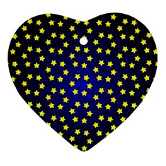 Star Christmas Yellow Heart Ornament (two Sides) by Nexatart