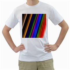 Strip Colorful Pipes Books Color Men s T-shirt (white) (two Sided) by Nexatart