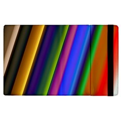 Strip Colorful Pipes Books Color Apple Ipad 3/4 Flip Case by Nexatart