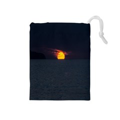Sunset Ocean Azores Portugal Sol Drawstring Pouches (medium)  by Nexatart