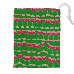 Wine Red Champagne Glass Red Wine Drawstring Pouches (xxl) by Nexatart