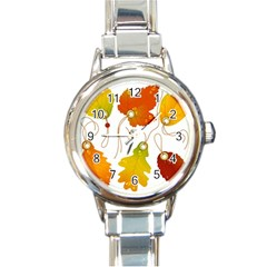 Vector Beautiful Maple Leaf Round Italian Charm Watch by Nexatart