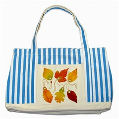 Vector Beautiful Maple Leaf Striped Blue Tote Bag