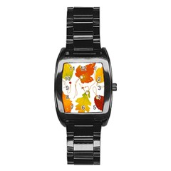 Vector Beautiful Maple Leaf Stainless Steel Barrel Watch by Nexatart