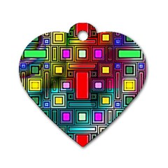 Art Rectangles Abstract Modern Art Dog Tag Heart (one Side) by Nexatart