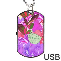 Abstract Flowers Digital Art Dog Tag Usb Flash (one Side)
