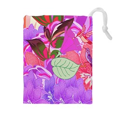 Abstract Flowers Digital Art Drawstring Pouches (extra Large) by Nexatart