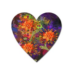Abstract Flowers Floral Decorative Heart Magnet by Nexatart