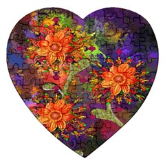 Abstract Flowers Floral Decorative Jigsaw Puzzle (heart) by Nexatart