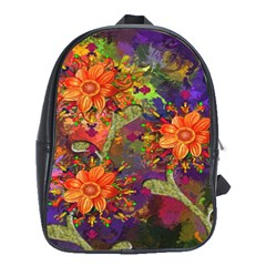Abstract Flowers Floral Decorative School Bags (xl)  by Nexatart