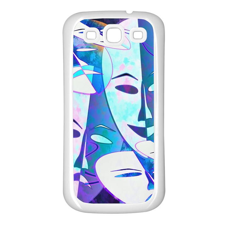 Abstract Mask Artwork Digital Art Samsung Galaxy S3 Back Case (White)
