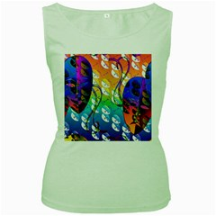 Abstract Mask Artwork Digital Art Women s Green Tank Top by Nexatart
