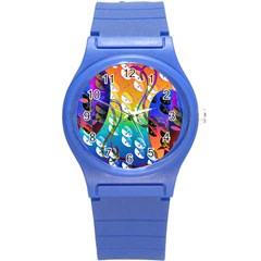 Abstract Mask Artwork Digital Art Round Plastic Sport Watch (s)