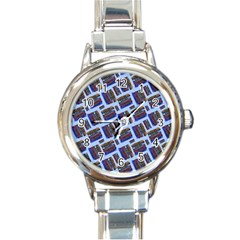 Abstract Pattern Seamless Artwork Round Italian Charm Watch by Nexatart