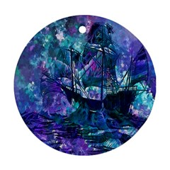 Abstract Ship Water Scape Ocean Round Ornament (two Sides)