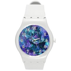 Abstract Ship Water Scape Ocean Round Plastic Sport Watch (m)