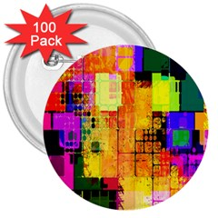 Abstract Squares Background Pattern 3  Buttons (100 Pack)