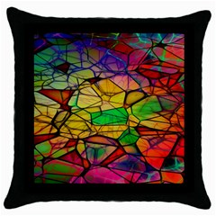 Abstract Squares Triangle Polygon Throw Pillow Case (black) by Nexatart