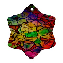 Abstract Squares Triangle Polygon Snowflake Ornament (two Sides) by Nexatart