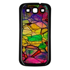Abstract Squares Triangle Polygon Samsung Galaxy S3 Back Case (black) by Nexatart