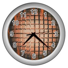 Abstract Texture Background Pattern Wall Clocks (silver)  by Nexatart
