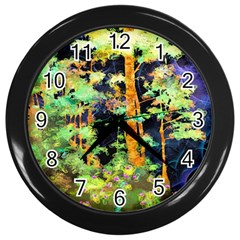 Abstract Trees Flowers Landscape Wall Clocks (black) by Nexatart