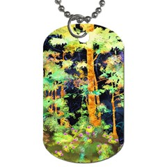 Abstract Trees Flowers Landscape Dog Tag (one Side)