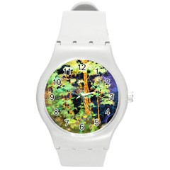 Abstract Trees Flowers Landscape Round Plastic Sport Watch (m)