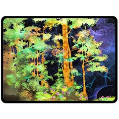 Abstract Trees Flowers Landscape Double Sided Fleece Blanket (large)  by Nexatart