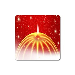 Advent Candle Star Christmas Square Magnet by Nexatart