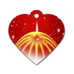 Advent Candle Star Christmas Dog Tag Heart (one Side) by Nexatart