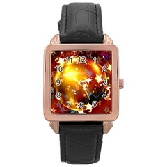 Advent Star Christmas Rose Gold Leather Watch  by Nexatart