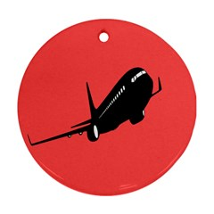 Air Plane Boeing Red Black Fly Ornament (round)