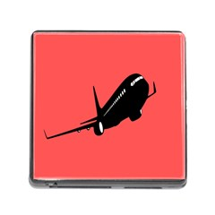 Air Plane Boeing Red Black Fly Memory Card Reader (square)