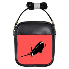 Air Plane Boeing Red Black Fly Girls Sling Bags