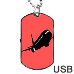 Air Plane Boeing Red Black Fly Dog Tag Usb Flash (one Side)