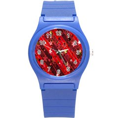 Advent Star Christmas Poinsettia Round Plastic Sport Watch (s)