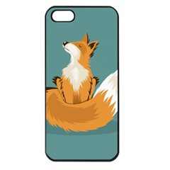 Animal Wolf Orange Fox Apple Iphone 5 Seamless Case (black)