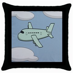Airplane Fly Cloud Blue Sky Plane Jpeg Throw Pillow Case (black) by Alisyart