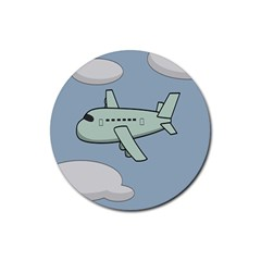 Airplane Fly Cloud Blue Sky Plane Jpeg Rubber Round Coaster (4 Pack)  by Alisyart