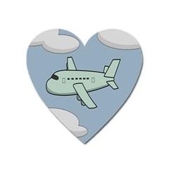 Airplane Fly Cloud Blue Sky Plane Jpeg Heart Magnet by Alisyart
