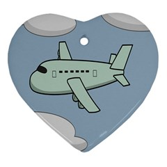 Airplane Fly Cloud Blue Sky Plane Jpeg Heart Ornament (two Sides)
