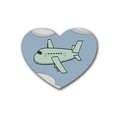 Airplane Fly Cloud Blue Sky Plane Jpeg Heart Coaster (4 Pack)  by Alisyart