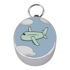 Airplane Fly Cloud Blue Sky Plane Jpeg Mini Silver Compasses by Alisyart