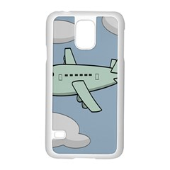 Airplane Fly Cloud Blue Sky Plane Jpeg Samsung Galaxy S5 Case (white)